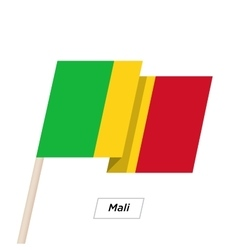 Mali Ribbon Waving Flag Isolated on White vector