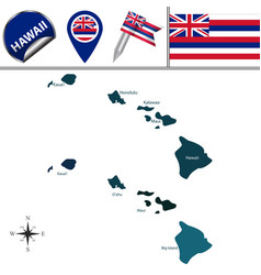 map hawaii with regions vector image