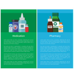 Medication pharmacy posters medicament containers vector