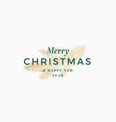 Merry christmas abstract retro label logo vector