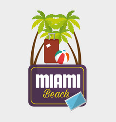 Miami beach summer icons vector