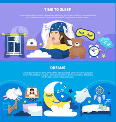 Night dreams 2 flat posters vector