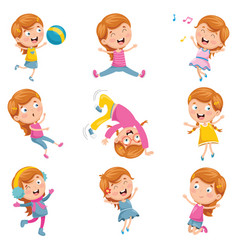 of little girl playing vector image