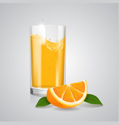 orange juice realistic glass and orange slice vector image