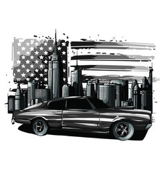 picture car on road with forest and big vector image