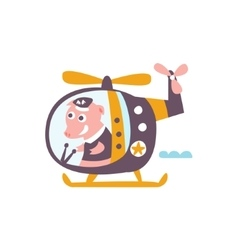 Pig Driving A Helicopter Stylized Fantastic vector image