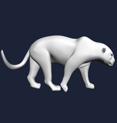 polygonal white leopard 3d leopard slowly goes vector image