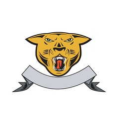 Puma Big Cat Growl Head Isolated vector image