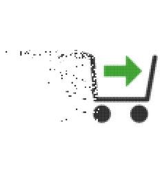 Purchase cart disintegrating pixel icon vector