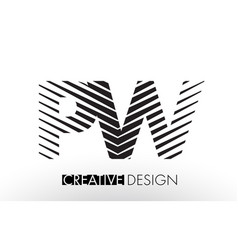 Pw p w lines letter design with creative elegant vector