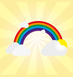 rainbow with gray clouds and sun on a yellow vector image
