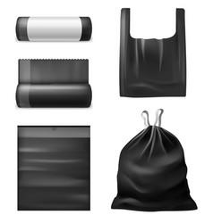 Realistic black trash bags kitchen garbage vector