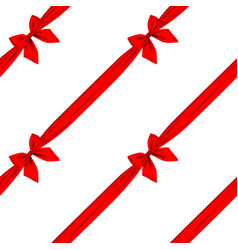 Red ribbon and bow seamless pattern background vector