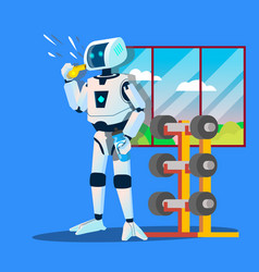 robot sports coach whistles in gym vector image