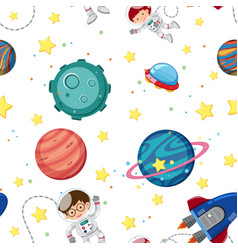 Seamless background template with astronauts and vector