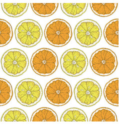 Seamless pattern with lemon and orange slices vector