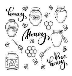 Set black and white honey bee jar doodle line vector