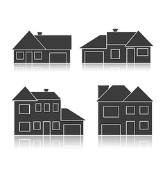 set black silhouettes cottages vector image