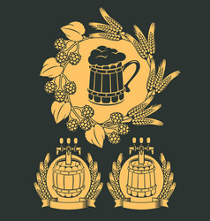 Set emblem for beer on tap vector
