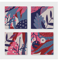 set floral stylized patterns cards flyers vector image