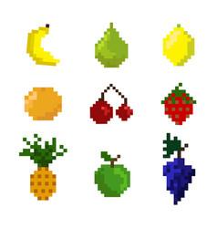 set of pixel fruits vector image