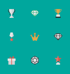 Set simple champion icons vector