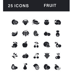 Set simple icons fruit vector
