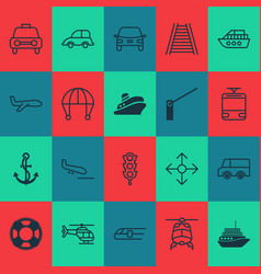 Shipping icons set with streetcar boat anchor vector