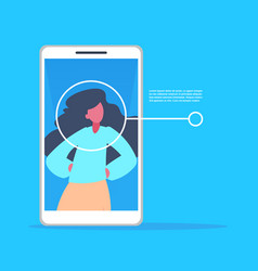 smartphone application woman face identification vector image