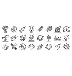 Space research technology icons set outline style vector