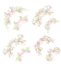 Spring corner page decorations isolated on white vector