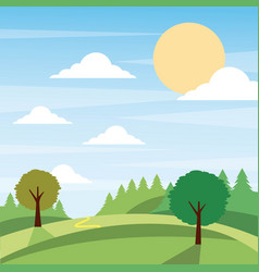 Sunny nature landscape with trees and meadow cloud vector