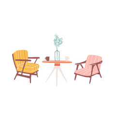 Table and armchairs hand drawn vector