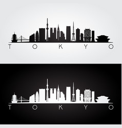 Tokyo japan skyline and landmarks silhouette vector