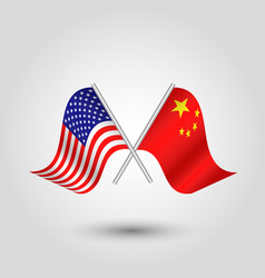 Two crossed american and chinese flags on silver vector