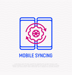 two mobile devices are syncing thin line icon vector image