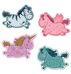 unicorns horse set vector image