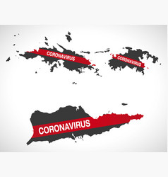Us virgin islands map with coronavirus warning vector