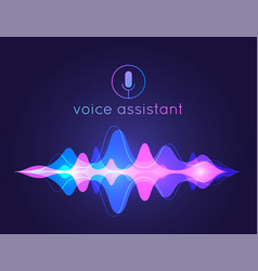 voice assistant sound wave microphone voice vector image
