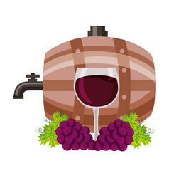 wine wooden barrel cup and grapes vector image