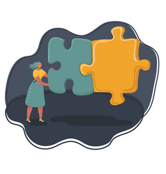 woman put two puzzles together vector image