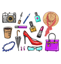 Women s accessories cosmetics vintage style hand vector