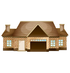 Wooden cottage made of bricks vector