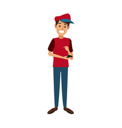 young happy man holding smartphone vector image