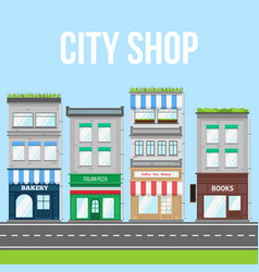 city street with shop pizza cafe and bakery vector image vector image