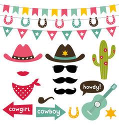 Cowboy design elements set vector