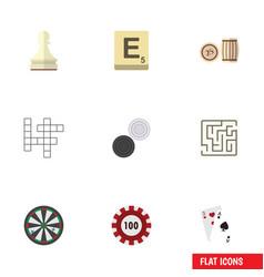 flat icon games set of lottery mahjong labyrinth vector image vector image