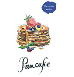 watercolor pancakes with berries and maple syrup vector image