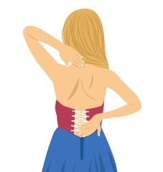 Young woman rubbing her painful back vector image