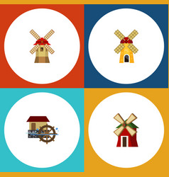 Flat icon energy set of rural wheel ecology and vector